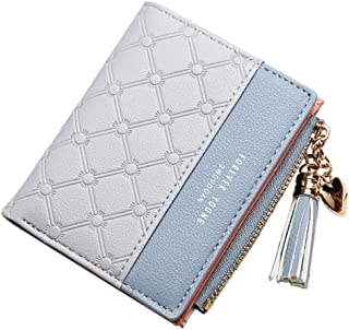 Belsmi Women's Small Compact Slim PU Leather Wallet Rfid Blocking Lady Purse Zipper Pocket Card Organizer Bifold Wallets (Gray)