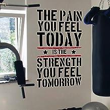 DesignDivil Pain Today Strength Tomorrow Gym Motivational Wall Decal Citaat 5 kleuren (zwart/rood)