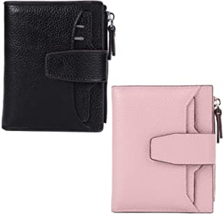 AINIMOER Women Leather Wallet RFID Blocking Small Bifold Zipper Pocket Wallet Card Case Black and Pink Bundle