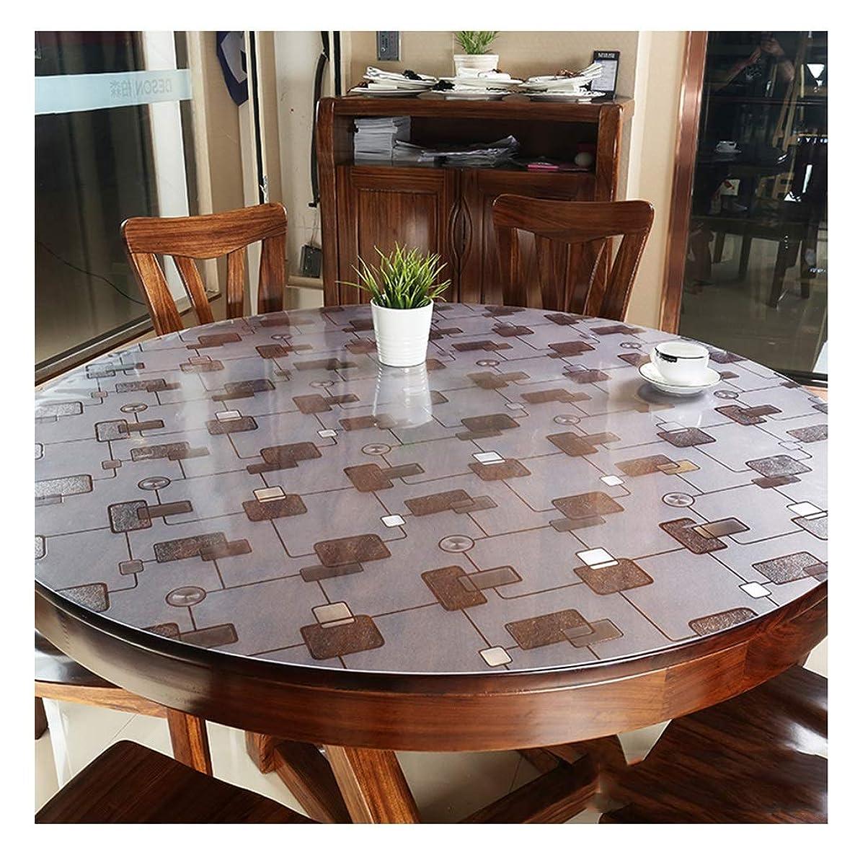 赤面めるエンジニアラウンドテーブルクロス 円形のテーブルクロスの幾何学的な格子の環境に優しいポリ塩化ビニールのテーブルクロスの防水、耐油性および反焦げ付き防止の布2mmの厚さ テーブルクロス (サイズ さいず : 160cm)