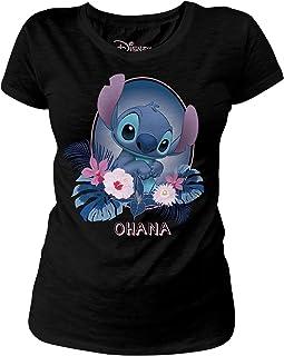 Lilo & Stitch Camiseta para Mujer Disney Ohana Cotton Black