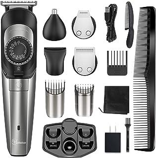 Hatteker Beard Trimmer for Men Hair Clipper Cordless Body Moustache Nose Hair Groomer Kit Precision Trimmer 5 in 1 USB Rec...