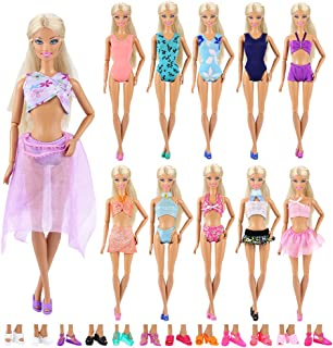 BARWA 5 Sets Swimwear Swimsuit Beach Bikini Bathing Clothes with Shoes for 11.5 Inch Doll