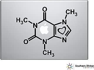 Caffeine Molecule Text Silhouette Macbook Symbol Iphone Apple Ipad Decal Skin Sticker Laptop (Black)