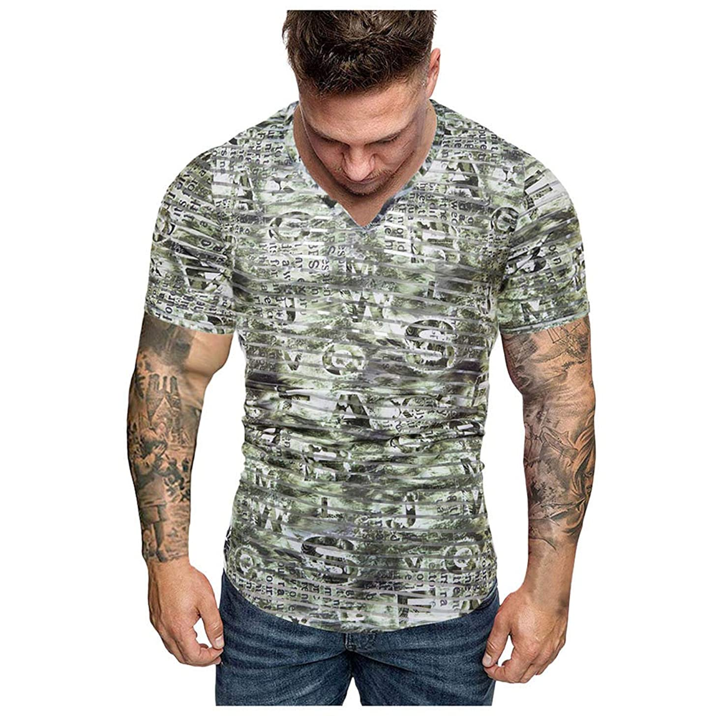 Slim Fit T Shirts for Men Short Sleeve Summer Camouflage Print V-Neck Fit Muscle Sport Top Blouse