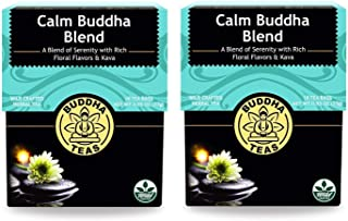 Buddha Teas Natural Calm Buddha Blend (Pack of 2) With Chamomile, Passion Flower, St. John's Wort, Spearmint, Lavender and Cinnamon, 18 Count Each