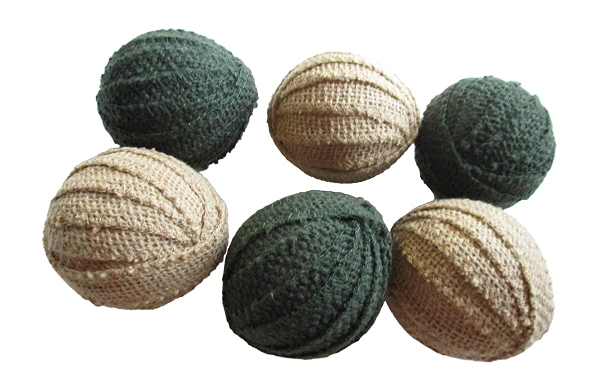 From The Attic Crafts Rag Balls Vintage Style Tobacco Cloth Green and Tan Rag Balls Bowl Fillers 2.5