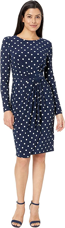 Barton Dot Matte Jersey Svetlana Long Sleeve Day Dress