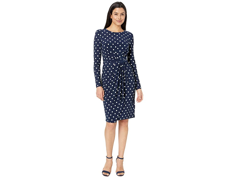 LAUREN Ralph Lauren Barton Dot Matte Jersey Svetlana Long Sleeve Day Dress (Lighthouse) Women