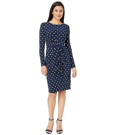 LAUREN Ralph Lauren Barton Dot Matte Jersey Svetlana Long Sleeve Day Dress (Lighthouse) Women