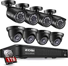 ZOSI H.265+ 1080p Home Security Camera System Outdoor Indoor, 5MP Lite 8 Channel DVR Recorder with 1TB Hard Drive and 8 x ...