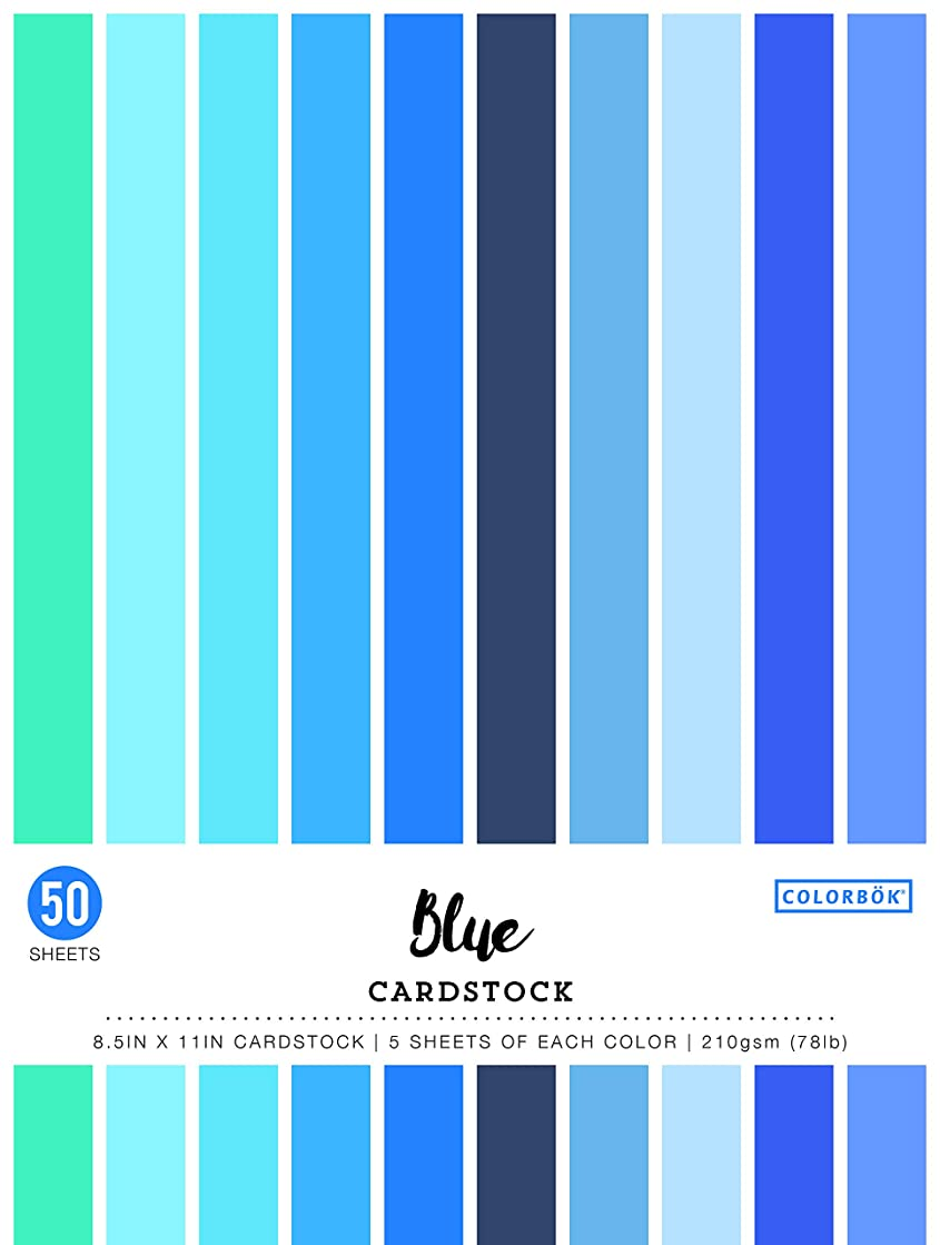 Colorbok 74238 8.5in Smooth Cardstock Blues, Multi-Colored