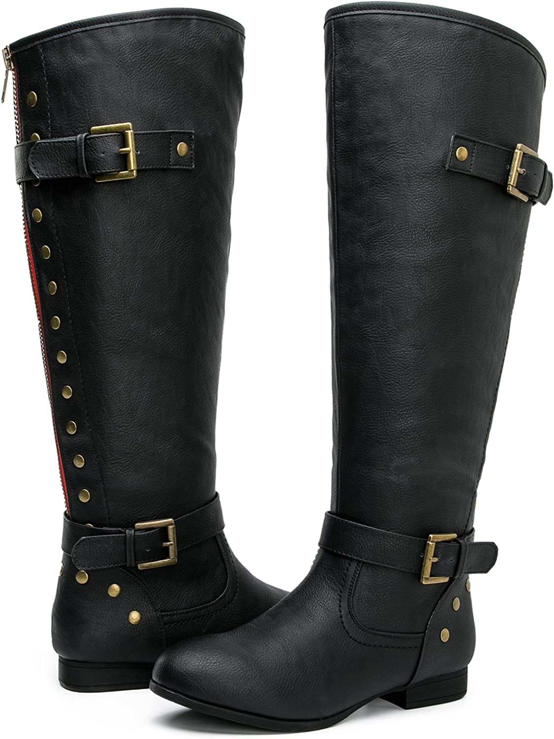 GLOBALWIN Women's YY09 Black Large Calf to-The Knee Fashion Boots 9M