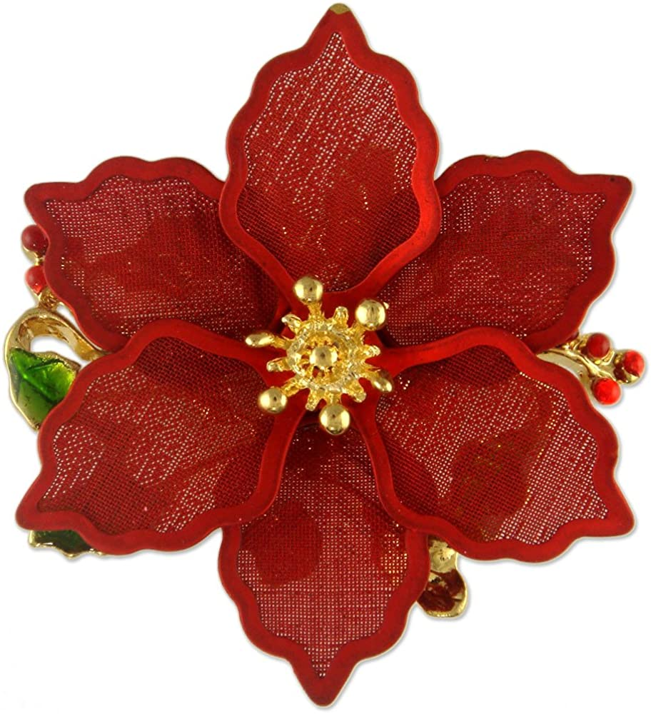 New Christmas RED Gold Poinsettia Flower Brooch PIN Pendant