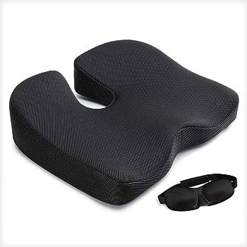 Mkicesky クッション 座布団 低反発 椅子 オフィス 車用 自宅用 座ぶとん アイマクス付き ブラック【メーカー正規品直営・1年保証】