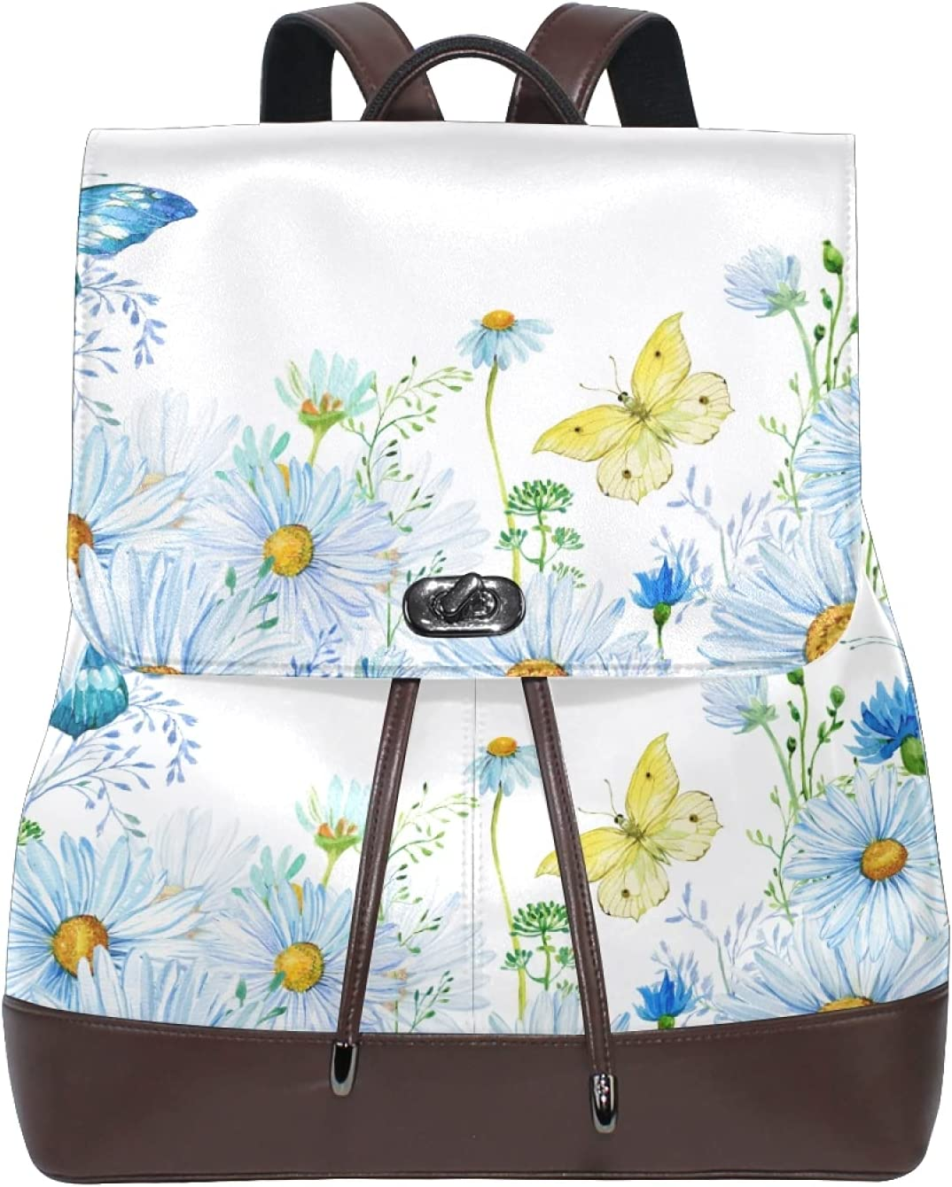 Women Leather Backpack Ladies Fashion Shoulder Bag Large Travel Bag Flower Background Of Wildflowers And Dragonflies