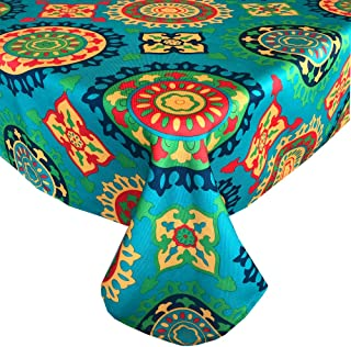 Marrakesh Boho Print Summer and Spring Indoor/Outdoor Soil Resistant and Water Repellent Fabric Tablecloth - Patio, Picnic...