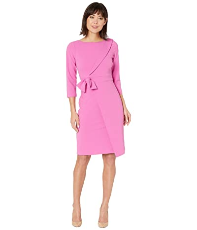 Adrianna Papell Knit Crepe Tie Detail Sheath Dress (Raspberry) Women