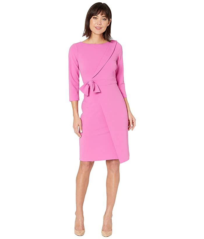 Adrianna Papell  Knit Crepe Tie Detail Sheath Dress (Raspberry) Womens Dress