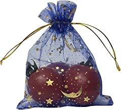 SUNGULF 100Pcs Sheer Organza Drawstring Pouches Stars and Moon Wedding Party Favor Jewelry Candy Gift Bags (3x4 inch, Blue)