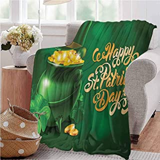 St. Patricks Day Family Blanket Large Pot of Gold Leprechaun Hat and Shamrocks Greetings 17th March Baby Small Fleece Blanket 30x50 Inch Gold and Emerald Throw Size