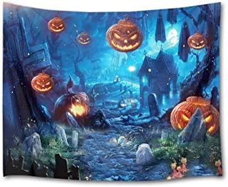 HVEST Halloween Tapestry Wall Hanging Ghost Pumpkins and Witch in Graveyard Wall Blanket for Bedroom Living Room Dorm Decor,60 W X 40 H Inches(Scary Night)