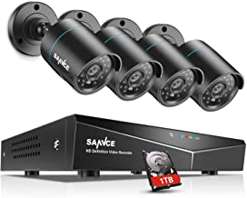 SANNCE 4CH 1080N Security Camera System with 1TB Hard Drive and (4) CCTV Cameras, IP66 Weatherproof, P2P Technology, QR Code Scan Remote Access