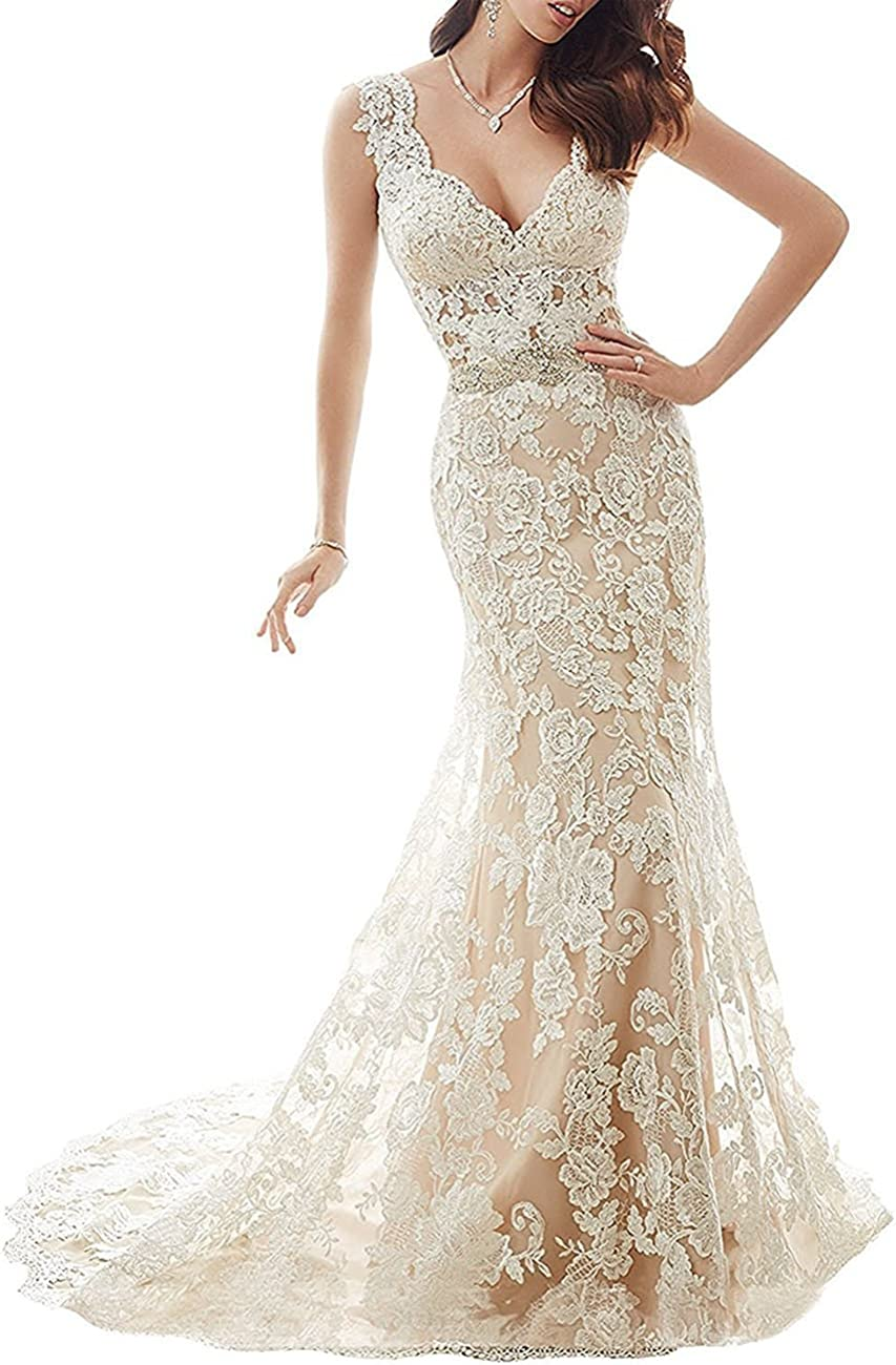 Cdress Illusion Back Lace Mermaid Wedding Dresses V-Neck Bridal Gowns with Beads Belt for Bride