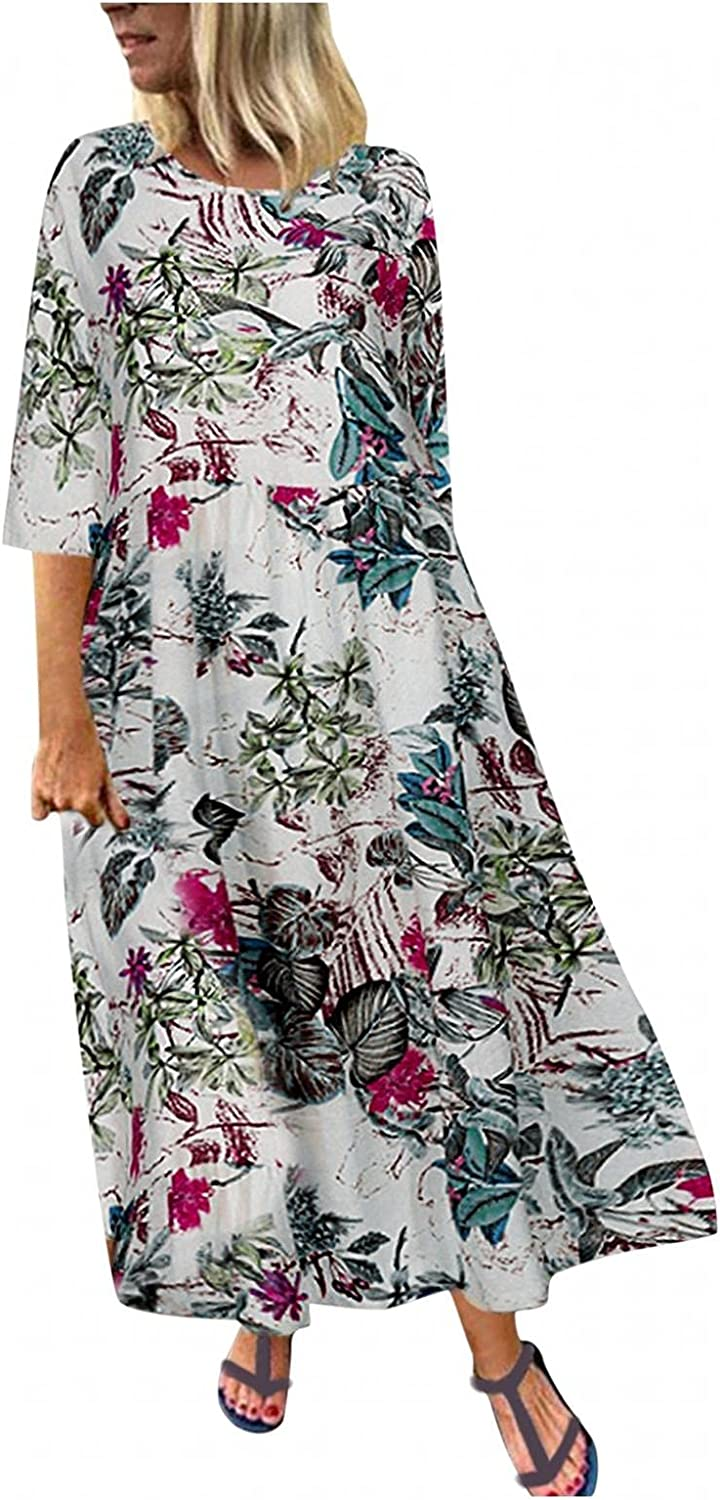 Gerichy Summer Dress for Women 2021, Women's Casual 3/4 Sleeve Floral Printed Maxi Dress Plus Size Loose Fit Boho Dress