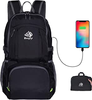 Bojly Hiking Daypack-Ultra Ligthweight Foldble Packable Backpack 40L Waterproof Hiking Travel Backpack with USB Charging Port for Men&Women