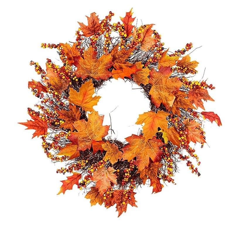 前書き国家探検Sund クリスマス リース 感謝祭 秋の色 ガーランドウィンドウレストランホームメープルリーフデコレーション装飾品休日ペンダントリース