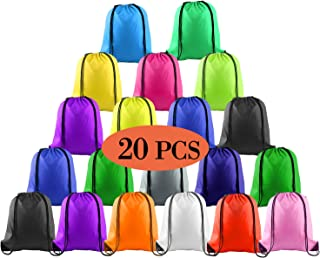 20 Pcs Drawstring Backpack Sport Bags String Bag Sack Cinch Tote Gym Backpack Bulk for School Gym Sport or Traveling,Colorful