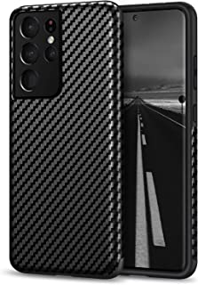 Tasikar Compatible with Samsung Galaxy S21 Ultra Case [Military Grade Drop Tested] Carbon Fiber Texture Silicone Bumper Ha...