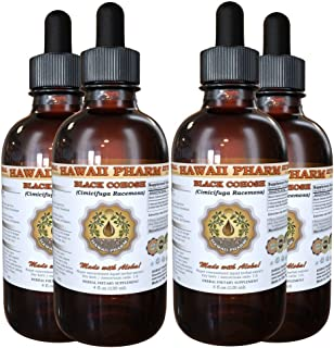 Black Cohosh Liquid Extract, Organic Black Cohosh (Cimicifuga Racemosa) Tincture 4x4 oz