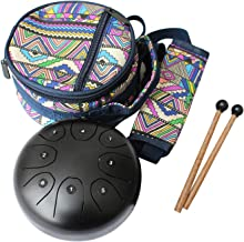 Flatsons Steel Tongue Drum Tank Drum Standard C Key 8 Notes 5.5 Inch Percussion Instrument with Drum Mallets Carry Bag, Black