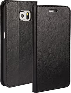 iCoverCase Compatible with Samsung Galaxy S6 Case,Genuine Leather Wallet Case [Slim Fit] Folio Book Design with Stand and Card Slots Flip Case(Black)