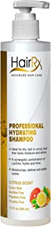 HairRx Professional Hydrating Shampoo with Pump, Luxurious Lather, Citrus Scent, 10 Ounce