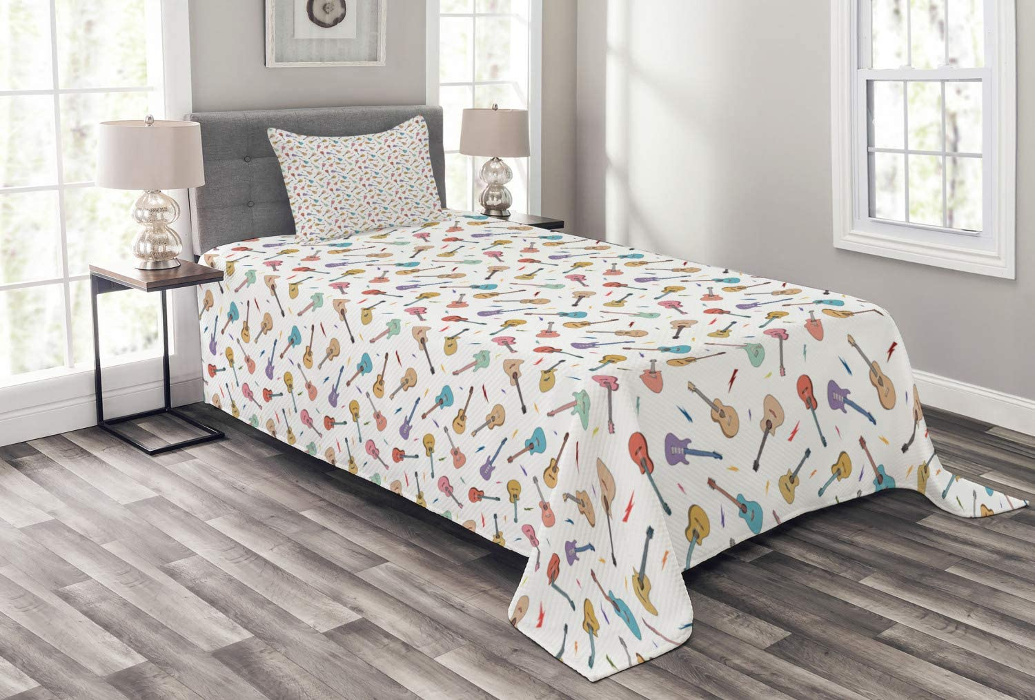 Ambesonne Guitar Bedspread Rhythm and with Superior Melody Trust Color Pattern