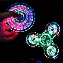 CPEI LED Fidget Spinner, Clear LED Light UP Fidget Finger Dice Anti-Stress Release Toys for Children Adults (LED Clear, Spinner)