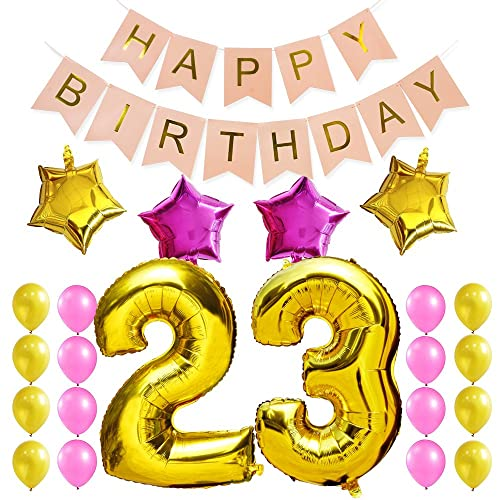 KUNGYO Sweet 23rd Birthday Party Decorations Kit Pink Happy Brithday BannerNumber 23 Golden