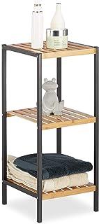 Estantería Relaxdays, 3 estantes móviles para baño y cocina, Cuadrado, Bambú, Marrón claro, HxLxP 70 x 30 x 30 cm