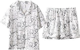 Conjunto de Pijamas de algodón para Mujer, Pijamas de Manga Corta, Ropa de Dormir Sencilla para Mujer, Pijama para Mujer, Traje para el hogar, Pijamas para Mujer