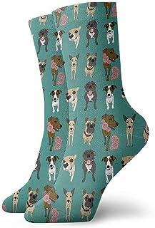 tyui7, Calcetines de compresión antideslizantes con diseño de perro Calcetines deportivos acogedores de 30 cm para hombres, mujeres y niños