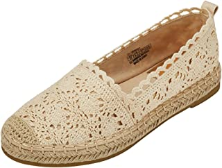 Espadrille Sneakers for Women: Hollow Canvas Casual Flats Classic Slip-On Comfortable Shoes
