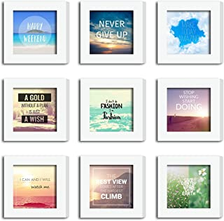 XUFLY 9Pcs 4x4 Real Glass Wood Frame White Square, Fit Family Image Pictures Photo (Window 3.6x3.6 inch), Desktop Stand On Wall Family Combine Motivational Quote Sea Decoration (10 Set Pictures) (28)