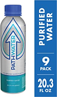PATHWATER Purified Flouride Free Water in Eco-Friendly, Sustainable BPA Free Reusable Recyclable Durable Light Weight Leak Proof Sleek Aluminum Bottle (600 mL, 20 Ounces, Case of Water, Pack of 9)