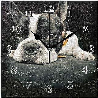 Rolig fransk bulldog väggklocka tyst icke-tickande fyrkantig konstmålning klocka för hem kontor skoldekor
