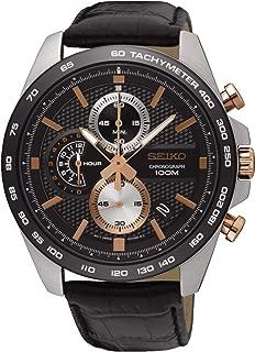 Men's Chronograph Quartz Watch with Leather Strap SSB265P1