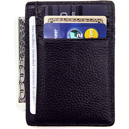 Toughergun RFID Blocking Minimalist Genuine Leather Slim Front Pocket Wallet U Vintage Pink Jelly