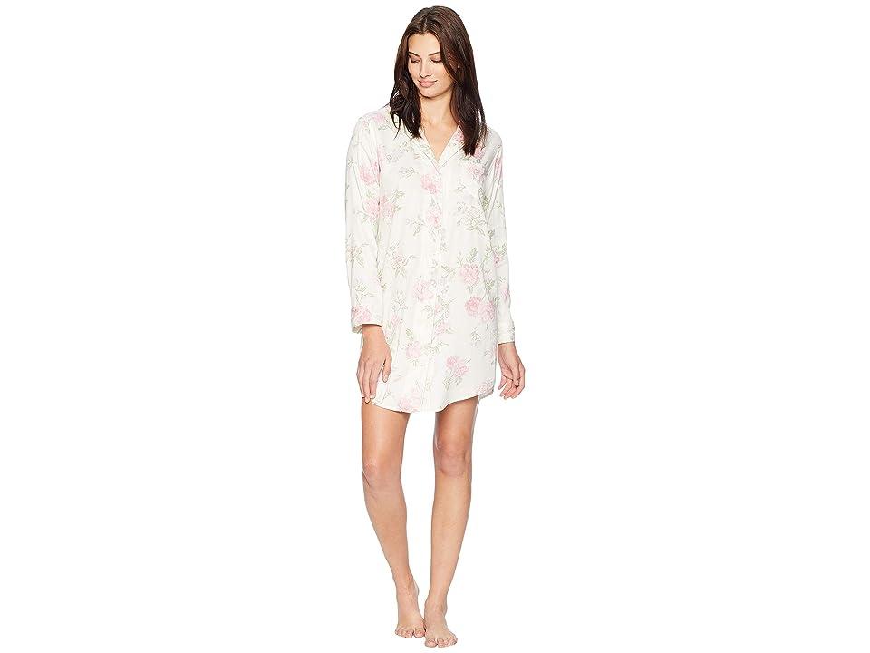 LAUREN Ralph Lauren Classic Woven Pointed Notch Collar Sleepshirt (Ivory/Multi Print) Women